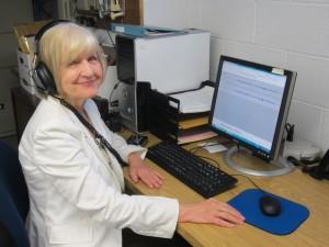 Eileen Telegdy digitizing an oral history cassette