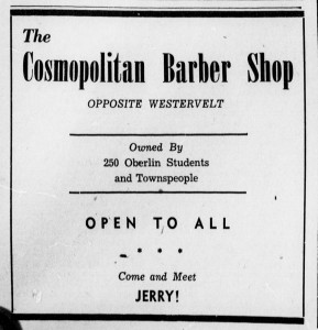 Cosmopolitan Barber Shop ad, Oberlin Review, 1944-11-17, vol 73-A, no. 2, p. 2