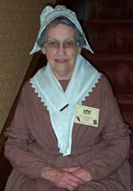 Ruth giving tours in historic costume.