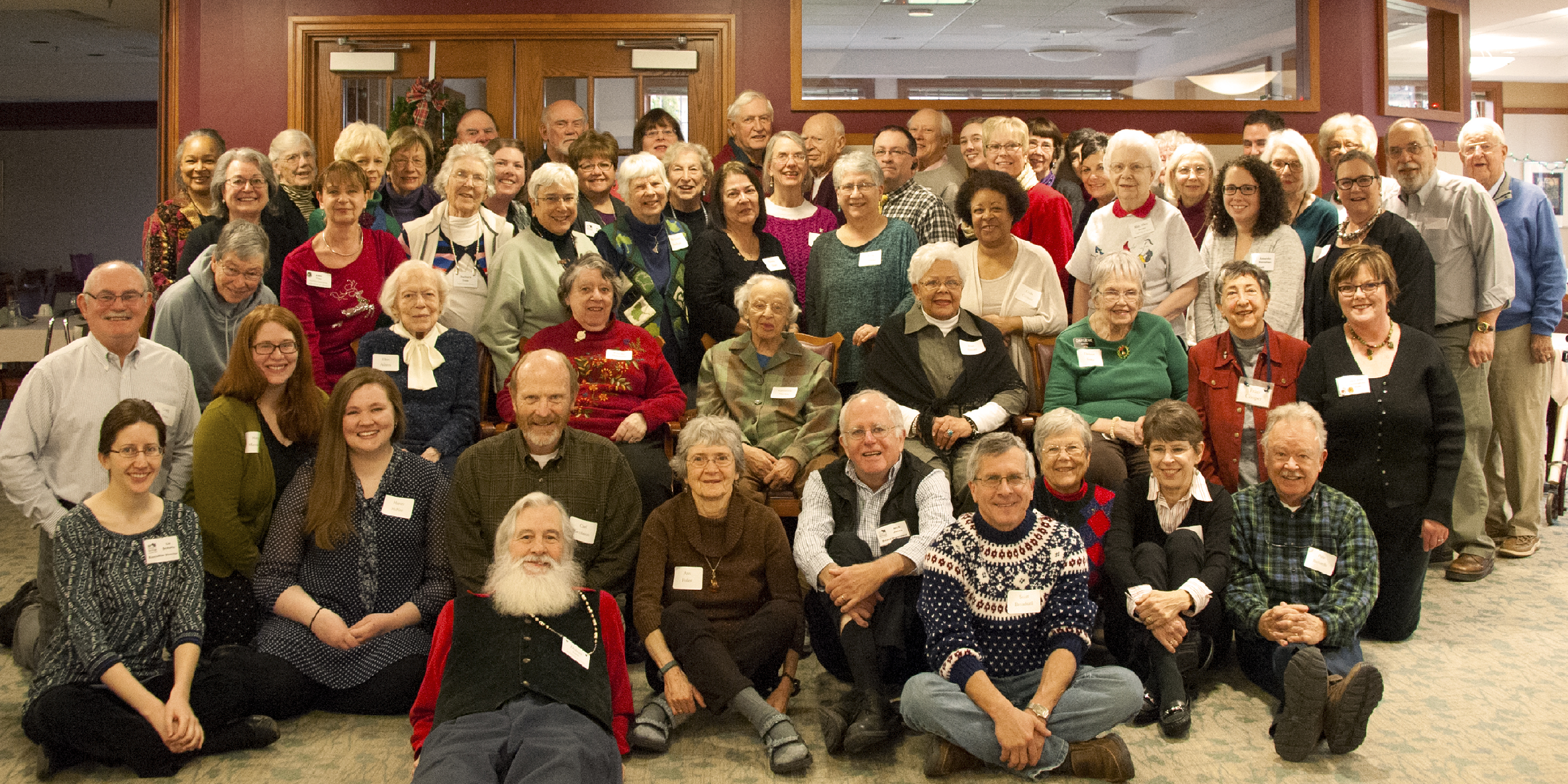 Some of the many volunteers of the Oberlin Heritage Center gathered to be thanked at a holiday brunch.