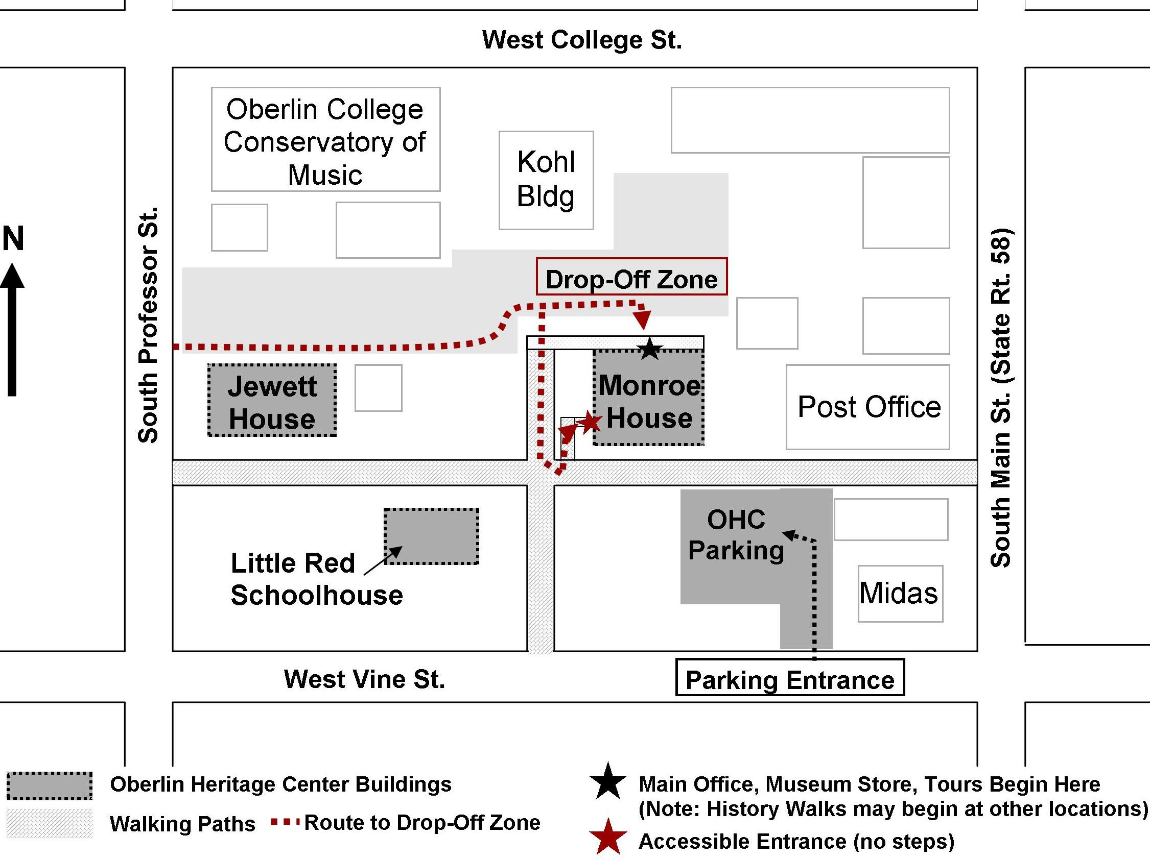 Map to OHC - Access routes