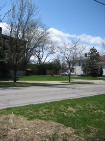 Present day view of open space by Harkness Dorm