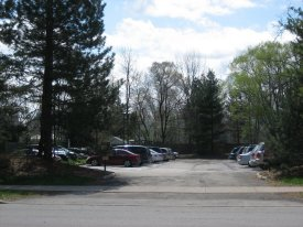 Present day view of Gray Gables parking lot