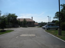 Present day view of Hales Gymnasium parking lot
