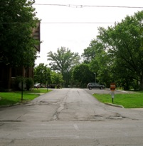 Present day view of Keep Cottage parking lot